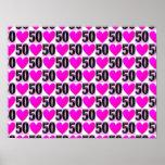 50TH BIRTHDAY LOVE HEARTS POSTER