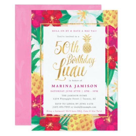 50th Birthday Luau Invitations | Pink & Gold