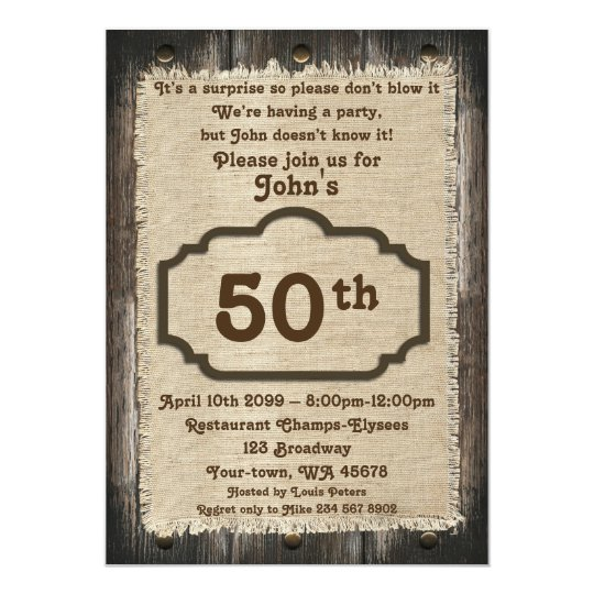 50th,Birthday Man,Party Man,any age,wood,rustic Card