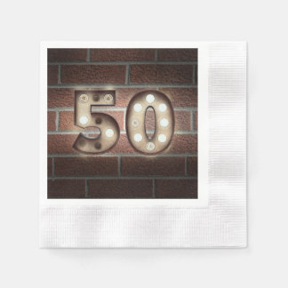 50th birthday marquee sign on brick wall paper napkins