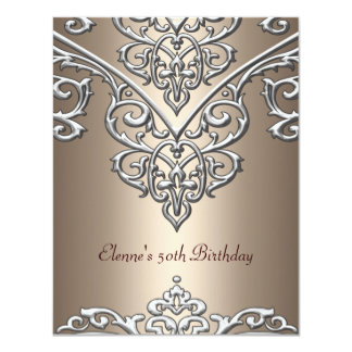 50th Birthday Metal Silver on Coffee Overlay 11 Cm X 14 Cm Invitation Card