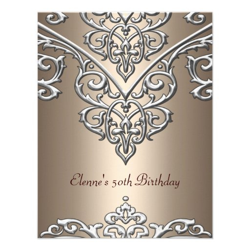 50th Birthday Metal Silver on Coffee Overlay Custom Invite
