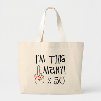50th birthday Middle Finger Salute Jumbo Tote Bag