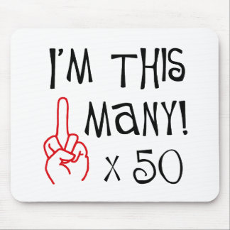 50th birthday Middle Finger Salute Mouse Mat