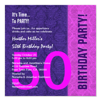 "50th Birthday Modern Color Pattern and Silver 5.25"" Square Invitation Card"