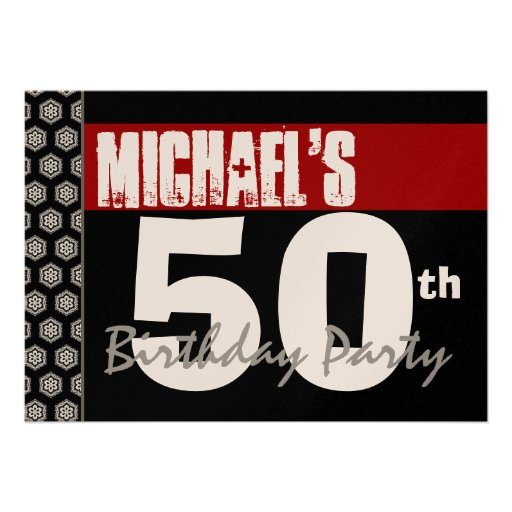 50th Birthday Modern For Him Red White Black W371 Announcements