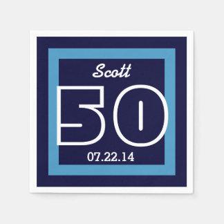50th Birthday Modern Geometric V14 NAVY and WHITE Paper Napkin