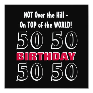 50th Birthday Modern Red Silver Black Funny Y164 13 Cm X 13 Cm Square Invitation Card