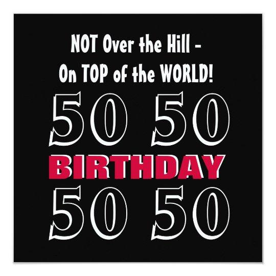 50th Birthday Modern Red Silver Black Funny Y164 Card