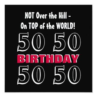 50th Birthday Modern Red Silver Black Funny Y164 5.25x5.25 Square Paper Invitation Card