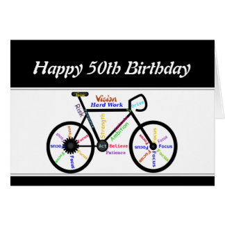 50th Birthday Motivational Bike Bicycle Cycling Greeting Card
