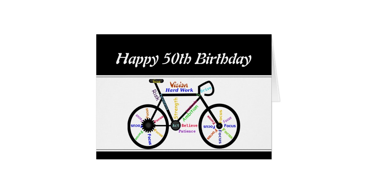 50th Birthday Motivational Bike Bicycle Cycling Card