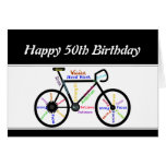 50th Birthday Motivational Bike Bicycle Cycling Greeting Card