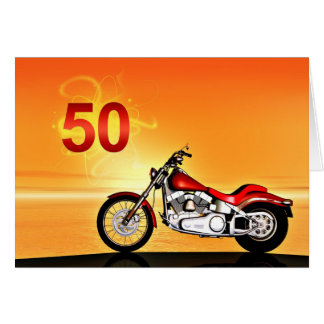 50th birthday Motorcycle sunset Greeting Card