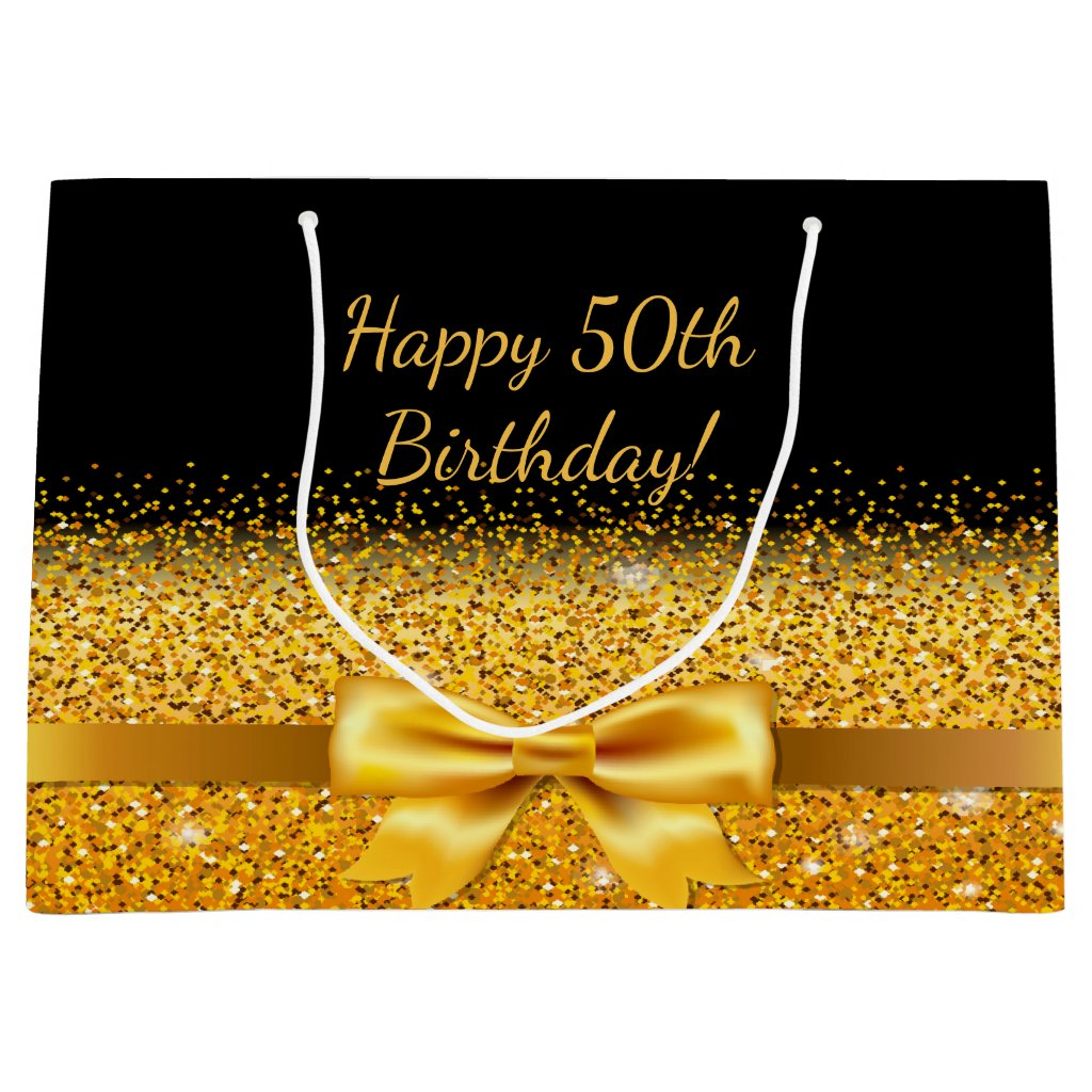 50th birthday on black with gold bow sparkle gift bag