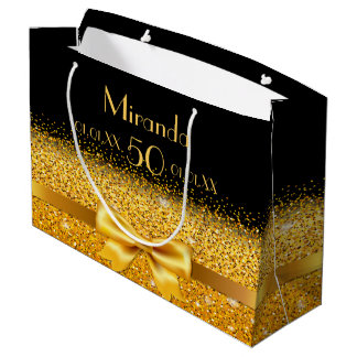 50th birthday on black with gold bow sparkle large gift bag