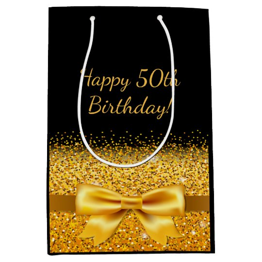 50th birthday on black with gold bow sparkle