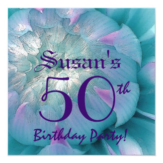 50th Birthday Party Beautiful Dahlia Bloom Card