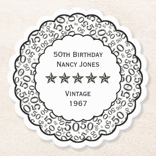 50th Birthday Party Black and White Theme Paper