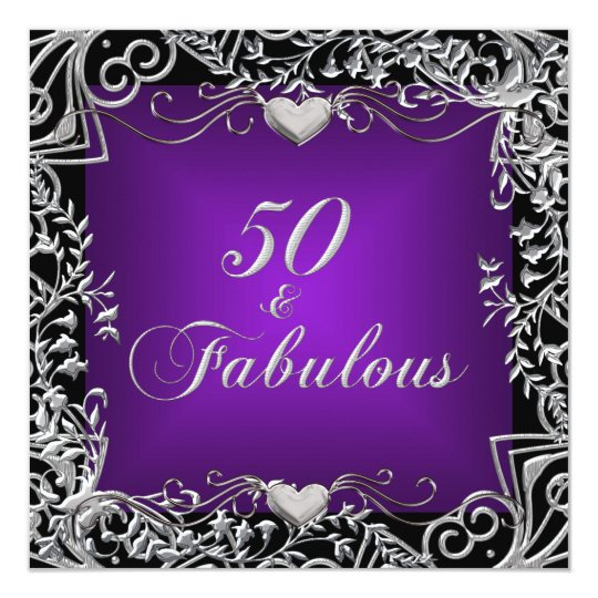 50th Birthday Party Black Silver Deep Purple Card