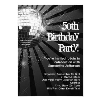 50th Birthday Party Black Sparkle Disco Ball 13 Cm X 18 Cm Invitation Card