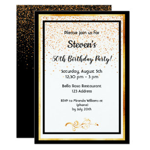 50th Birthday Party Black White And Faux Gold Invitation