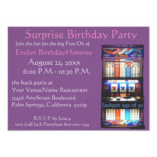 50th Birthday Party Casino Slot Machine Card