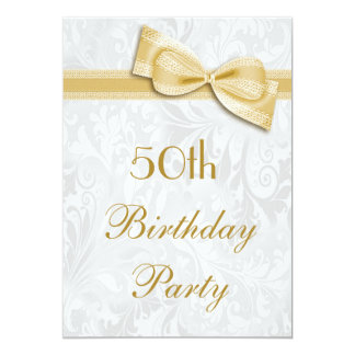 50th Birthday Party Damask and Faux Bow 13 Cm X 18 Cm Invitation Card