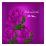 50th Birthday Party Elegant Purple Plum Rose 1 Personalized Invites