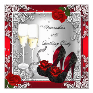 50th Birthday Party Elegant Red Rose Silver 5.25x5.25 Square Paper Invitation Card