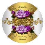 50th Birthday Party Elegant Roses Purple Gold R Personalised Invitations
