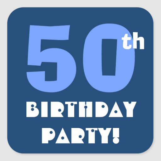 50th Birthday Party Envelope Seal Square Stickers