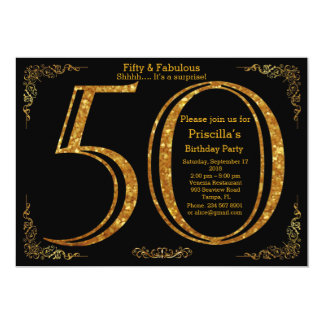 50th, Birthday party,fifty,Gatsby,black & gold 13 Cm X 18 Cm Invitation Card