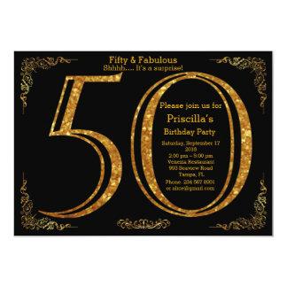 50th, Birthday party,fifty,Gatsby,black & gold Card