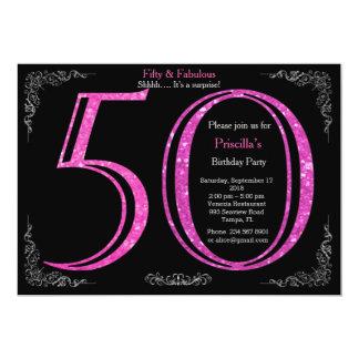 50th,Birthday party, fifty, Gatsby, black silver 13 Cm X 18 Cm Invitation Card