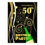 50th Birthday Party - Fun and Festive Champagne Personalised Announcement
