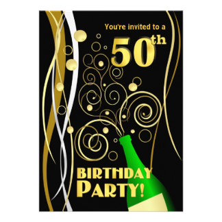 50th Birthday Party - Fun and Festive Champagne Invitations