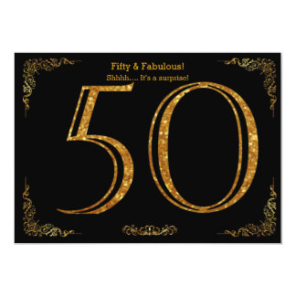 50th Birthday party,Gatsby styl,black gold glitter 13 Cm X 18 Cm Invitation Card