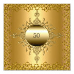 50th Birthday Party gold 13 Cm X 13 Cm Square Invitation Card
