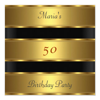 50th birthday Party Gold Black Card