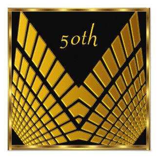 50th birthday Party Gold Black gold 1 13 Cm X 13 Cm Square Invitation Card