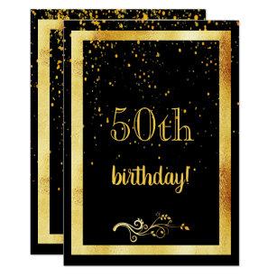 50th Birthday Party Gold Frame Black Invitation
