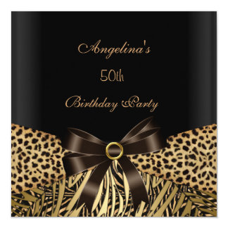 50th Birthday Party Gold Leopard Brown Black Card