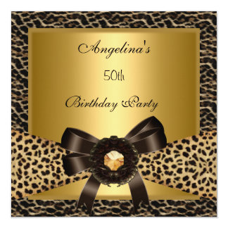 50th Birthday Party Gold Leopard Coffee Brown 5.25x5.25 Square Paper Invitation Card