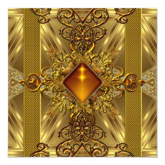 50th Birthday Party Gold Ornate Amber Jewel Card