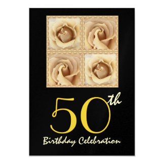 50th Birthday Party GOLD Roses Metallic 13 Cm X 18 Cm Invitation Card