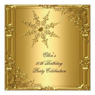 50th Birthday Party Gold Snowflake 13 Cm X 13 Cm Square Invitation Card