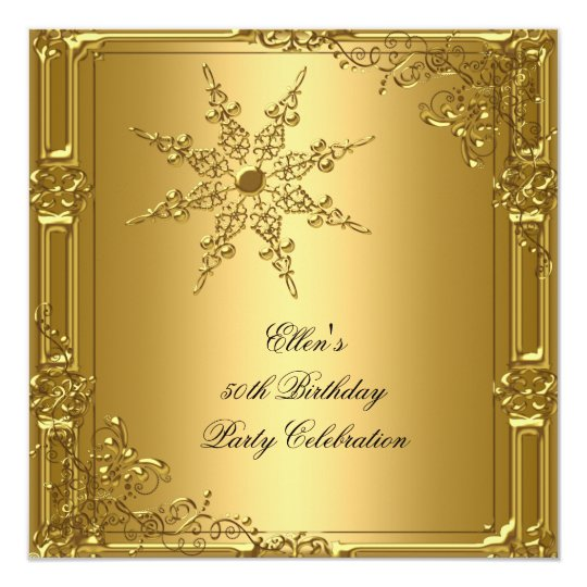 50th Birthday Party Gold Snowflake Card