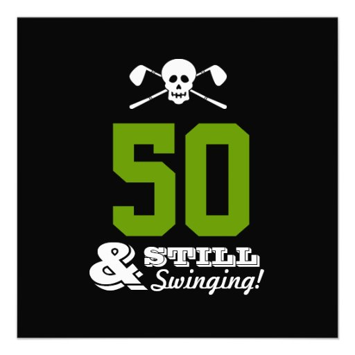50th Birthday Party Golf - Still Swinging! Custom Announcements
