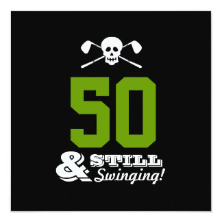 "50th Birthday Party Golf - Still Swinging! Custom 5.25"" Square Invitation Card"